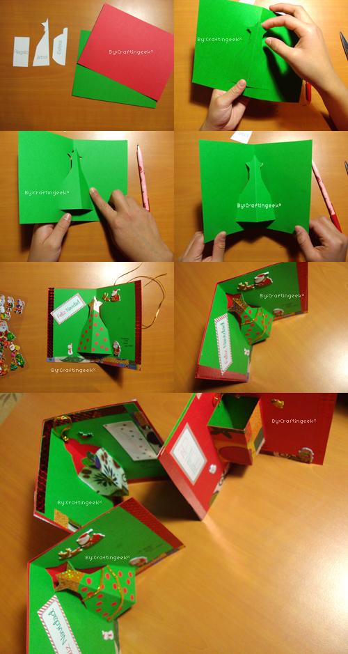 Tarjetas Para Navidad 3 Estilos Pop Up 3d Y Sencillo Craftingeek - Como-se-hace-una-tarjeta-de-navidad