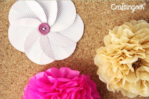 Flores Y Pompones De Papel En 5 Minutos Craftingeek