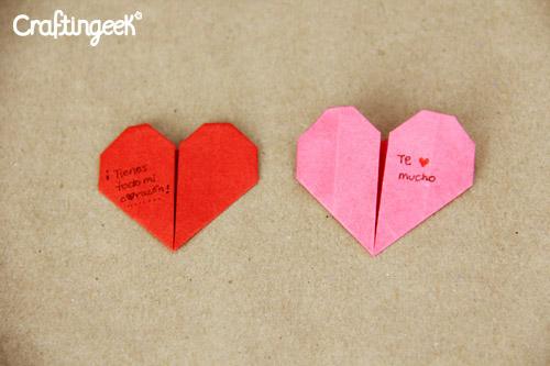 Como hacer un corazon de papel - Origami ~ Craftingeek