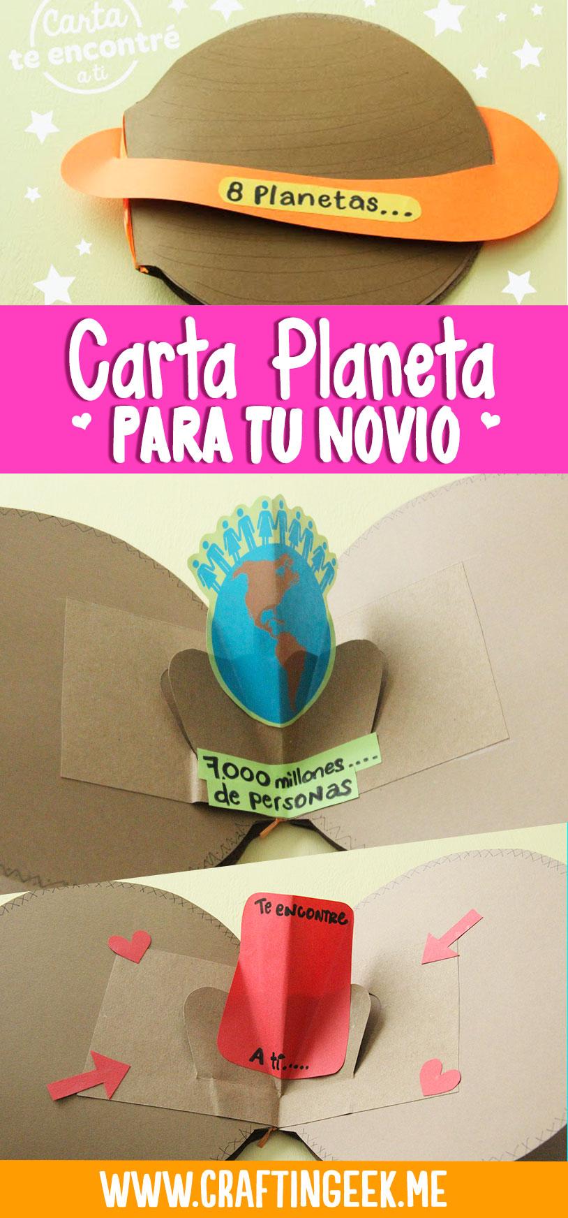 """Carta planeta """"Te encontré a ti"""" para sorprender a tu novio o novia"""