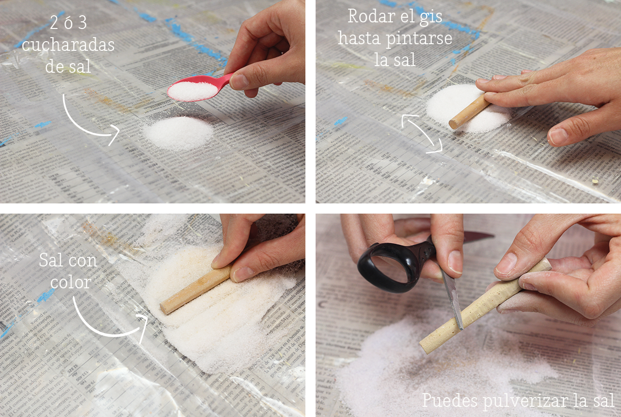 Para hacer arena de colores necesitas pintar sal con gises / To make your own colored salt use chalk
