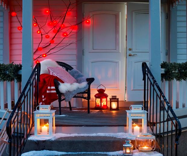 con velas luces de navidad