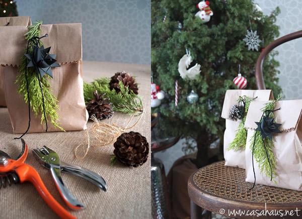 Envoltura natural para los regalos de Navidad