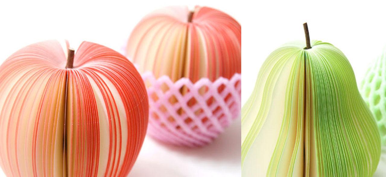 notas adhesivas de frutas