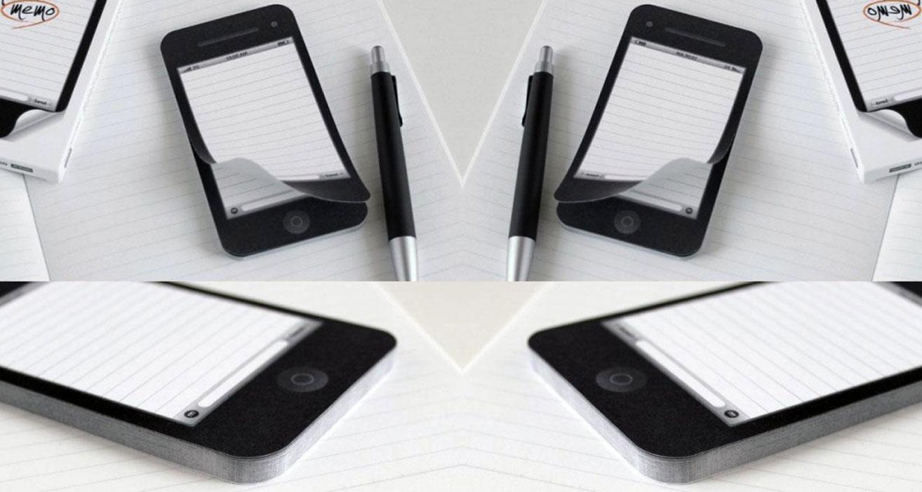notas en forma de celular