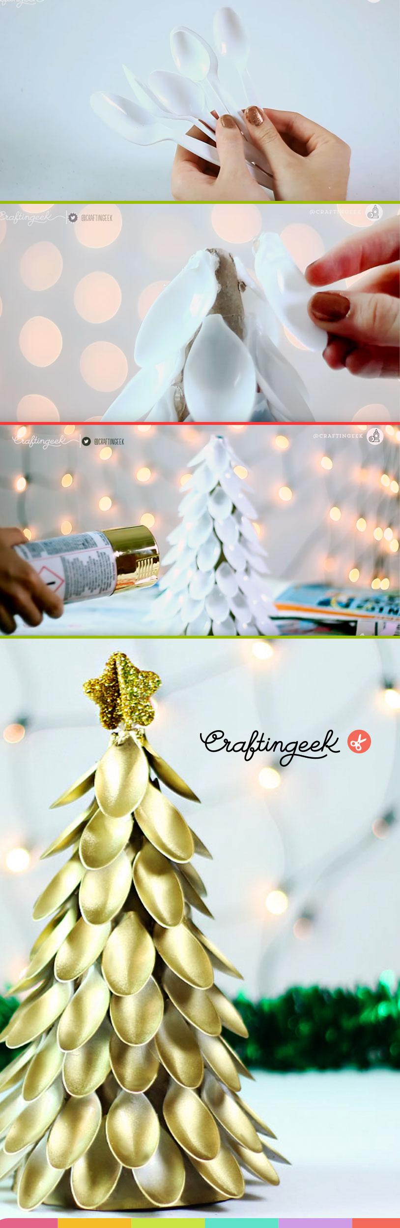 arbol de navidad con cucharas