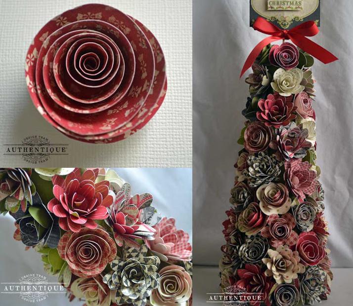 arboles navidad con flores de papel