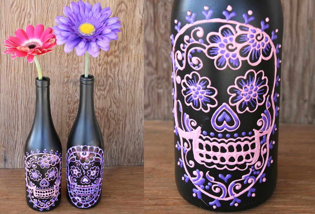 botellas-decoradas-dia-de-muertos