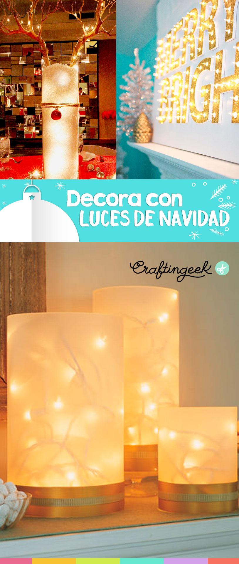 12 ideas que puedes hacer con luces de navidad craftingeek for Decoraciones de navidad para hacer en casa