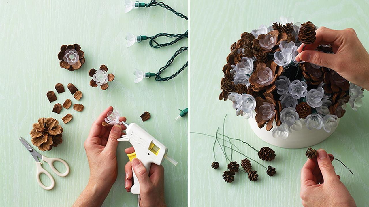 8 manualidades hermosas con pi as de pino craftingeek - Decorar pinas naturales ...