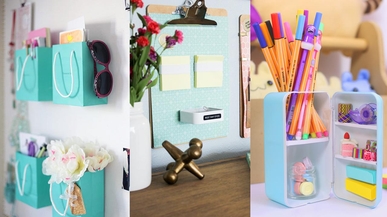 Haz mini organizadores de escritorio de casillero o for Ideas para decorar mi escritorio