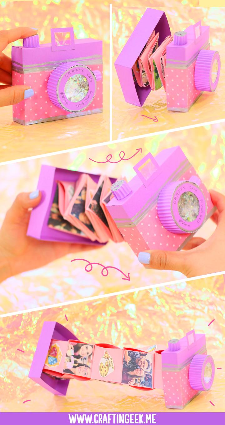 Cómo hacer una cámara acordeón para regalo - DIY Accordeon Camera album gift idea