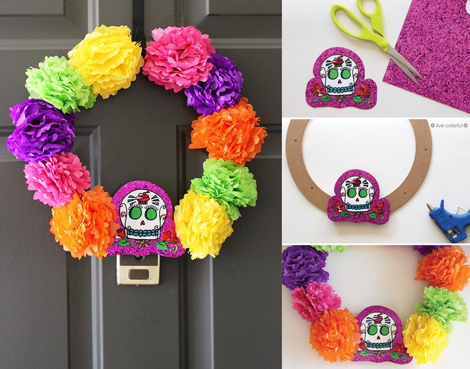 Ideas para decorar el d a de muertos craftingeek for Puertas decoradas con flores de papel