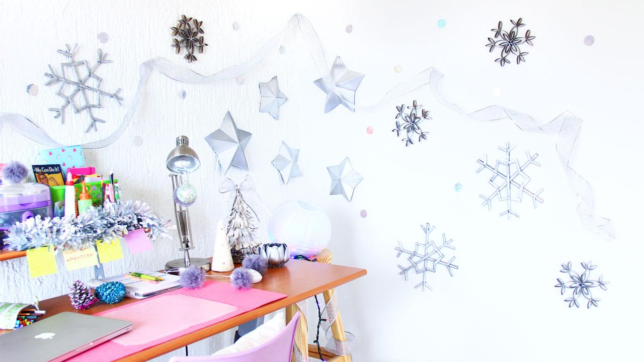 estrellas y copos de nieve decoracion