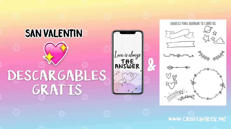 Wallpaper + Doodles descargables San Valentin