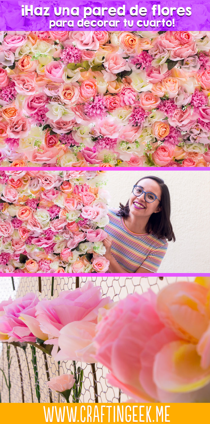 Haz una pared de flores para decorar tu cuarto craftingeek - Como empapelar una pared ...