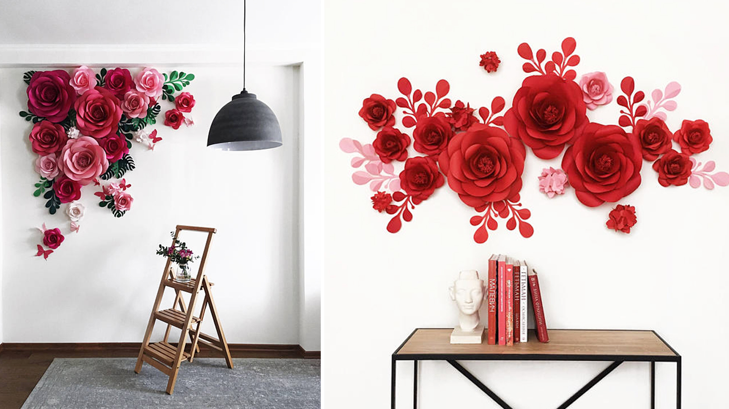 ¿Sientes que tu pared tiene espacios vacíos? Puedes colocar flores hechas de papel, le dará un aspecto de naturales hecha en casa | Do you feel that your wall has empty spaces? You can place flowers made of paper, it will give an appearance of natural.