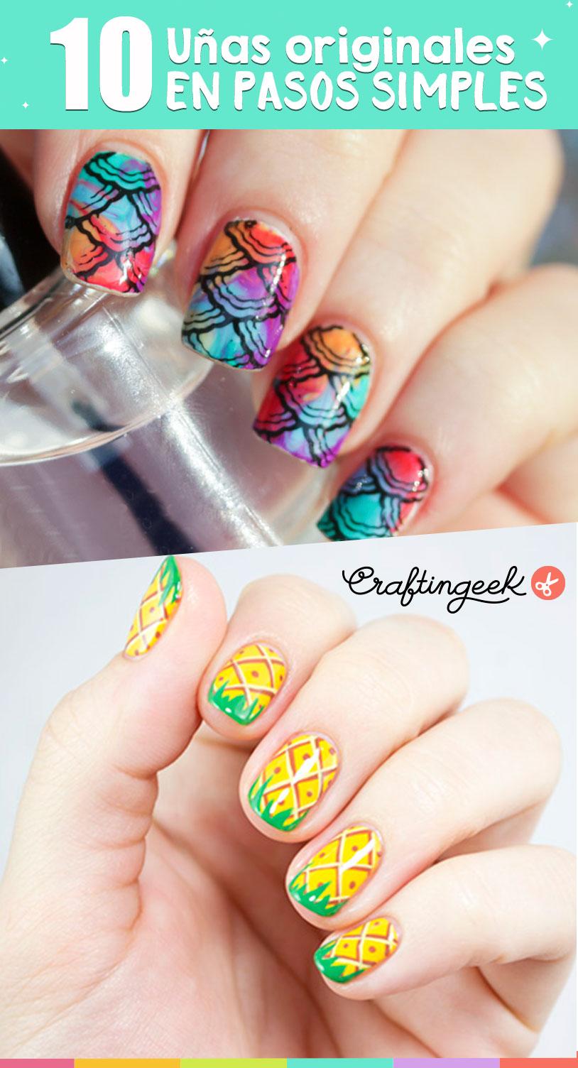 10 diseños de uñas originales en simples pasos ~ Craftingeek