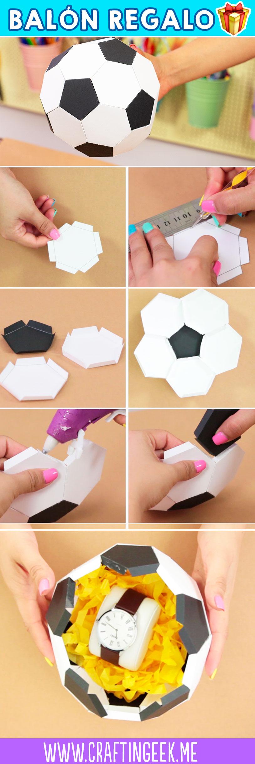 Haz un balón de futbol de papel para regalo - Make a paper soccer ball DIY giftbox