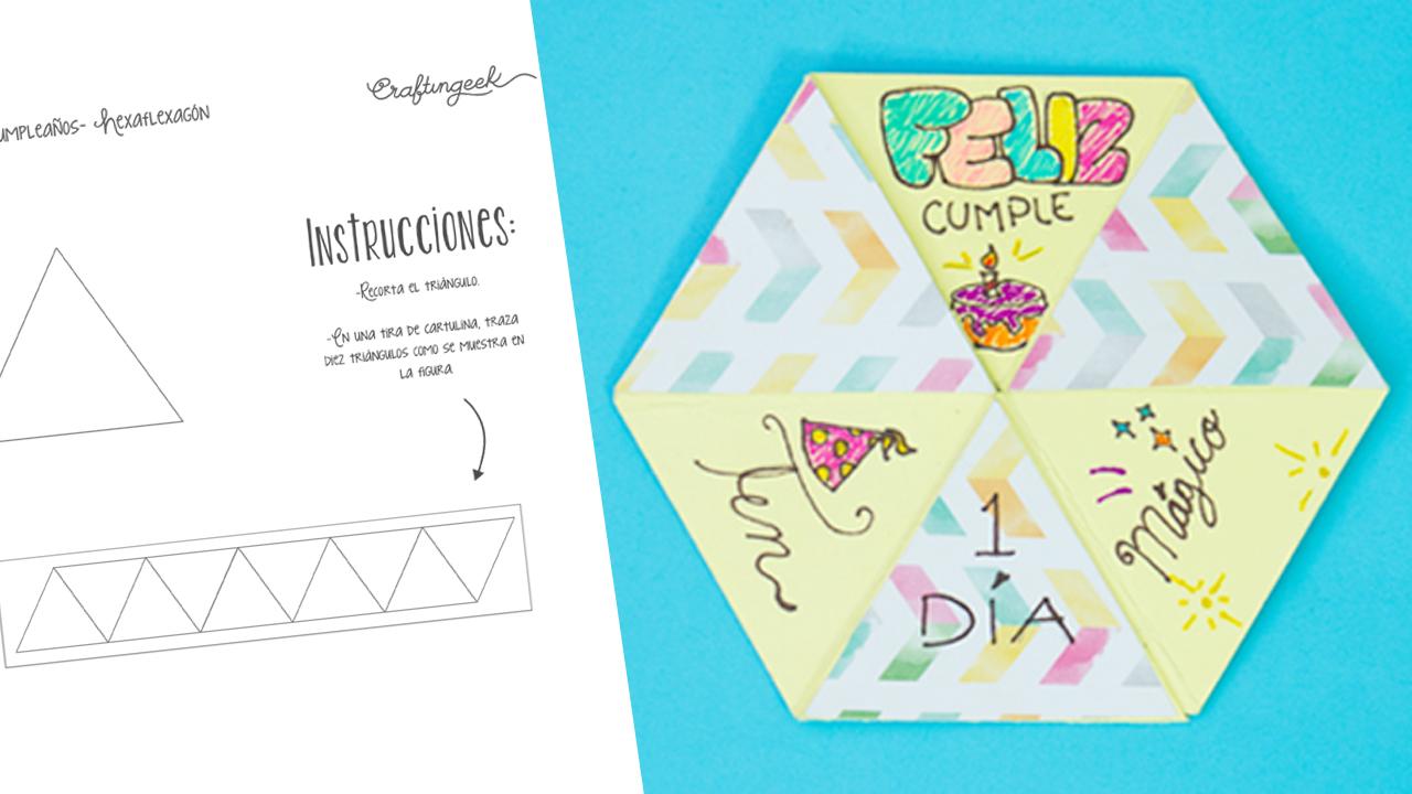 Plantilla para hacer tarjeta hexaflexagon ~ Craftingeek