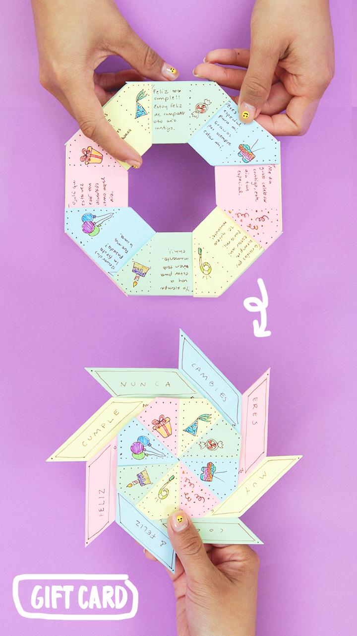 Cómo hacer una carta hecha con hojas de colores con un mensaje secreto / How to make a letter with a secret message