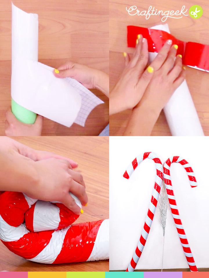 Decoraciones navideñas: Bastón de dulce gigante y fácil