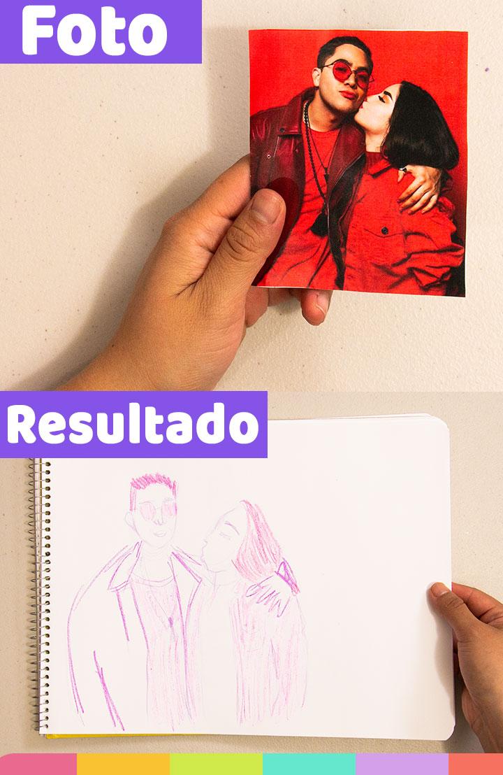 Separe a Jukilop en este dibujo utilizando lápiz de color morado ¡Le eche muchas ganas, pero lamento separarlos!   I separated Jukilop in this drawing using a purple colored pencil. I try!, but I'm sorry to separate them!